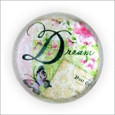 Vintage style victorien rose fleur & papillon verre paperweight mot dream