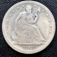 1862 S Seated Liberty Half Dollar 50c High Grade XF #20643