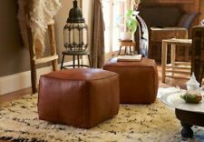 Moroccan Leather Pouf Cube Pouf Ottoman Square Moroccan Pouf Natural Dark Brown