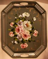 "Vintage hand-Painted (tole) Metal Tray. 20""x16"" by Art Gift Products, Phila, PA"