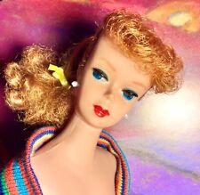 New ListingVintage Barbie #5 5 Ponytail Titian Titan Redhead Painted Legs & Orig Top Knot!