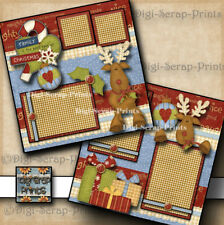 FAMILY CHRISTMAS ~ 2 premade scrapbook pages paper piecing BY DIGISCRAP  #A0151
