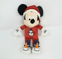 "9"" DISNEY STORE MICKEY MOUSE SNOWMAN PJ CHRISTMAS SANTA STUFFED ANIMAL PLUSH TOY"