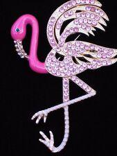 BELLA JACK RHINESTONE FLORIDA ISLAND LIFE PINK FLAMINGO BIRD PIN BROOCH JEWELRY