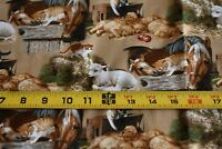 By 1/2 Yd, Farm Animals on Tan Quilt Cotton, David Textiles/PWild Wings, N2519
