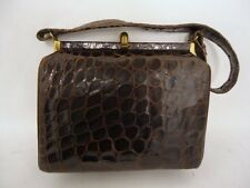 Exquisito 50's 60's atemporal Vintage Brown Real Cocodrilo Skin marco Bolso