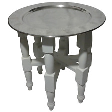 "20"" White Wooden Handmade Hand Crafted Table with 16"" Moroccan Silver Tray"