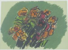 "Vintage Original  Lithograph ""Flowers"" by Ennio Morlotti Listed"