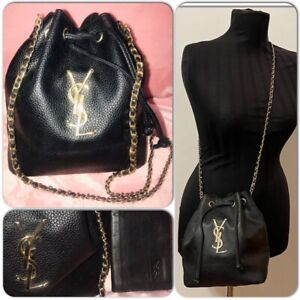 Yves Saint Laurent YSL Drawstring Black leather Bucket Bag with wallet