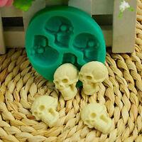 Green Skull Head Silicone Mold Fondant Cake Mold Halloween Party Decor DIY BS