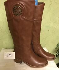 NWB Bare Traps Taupe Brown knee high ladies boots sz 5 M accent metal on toe