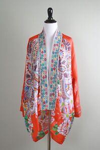 JOHNNY WAS $378 Embroidered Trim 100% Silk Kimono Jacket Top Size Medium