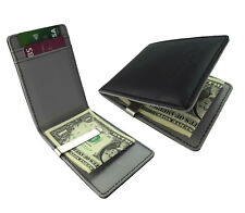 UK Grey Money Clip Silver Faux Leather Clutch Black Wallet Card Holder