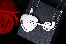 A pair of couples open your heart colorful crystal  Fashion charm necklace