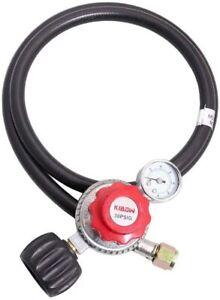 Adjustable High Pressure Propane Regulator w/0~60PSI Gas Flow Indicator 4Ft