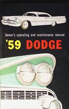 1959 Dodge Proprietari Manuale 59 Coronet Lancer Royal Sierra Operativo Guida