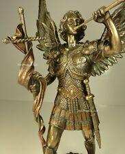 ** ST GABRIEL ARCHANGEL W/ HORN AND CROSS Statue /  Sculpture Bronze Finish