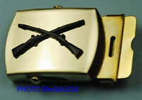 BLACK INFANTRY CROSSED RIFLES brass buckle & blue Web Belt Army