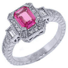 EMERALD CUT PINK SAPPHIRE DIAMOND HALO ENGAGEMENT RING ROUND 14KT WHITE GOLD