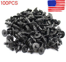100 Pcs 7mm Hole Black Plastic Bumper Fender Push Car Door Clips Rivet Panel