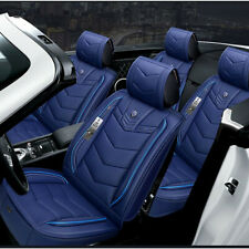 Blue PU Leather 6D Full Surround Car Front&Rear Seat Cover Protector Accessories