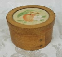 Vintage Round Shaker Wood Tacked Primitive Pantry Box With Theorem Painted Lid