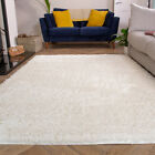 Cream Shaggy Rug Thick Deep Bedroom Rugs Ivory Fluffy Non Shed Living Room Rug