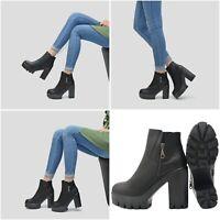 Damen Stiefeletten Trend Chelsea Plateau Ankle Boots Reißverschluss Profil Sohle