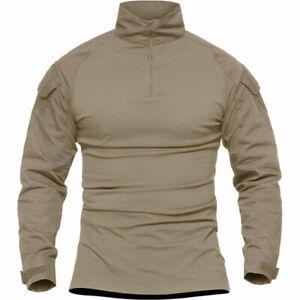 Men's Army Shirt Military Tactical 1/4 Zip Airsoft Shirt Long Sleeve Casual Tops