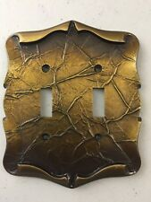 Vintage 1970's Amerock Carriage House  Brass Double Switch Plate Cover