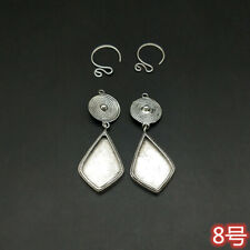 silver Diy embedded earring 1pair Tribal Personality accessory handmade miao