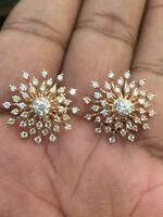 1,74 Cts Runde Brilliant Cut Diamanten Sunburst Ohrstecker In Hallmark 14K Gold
