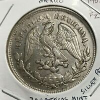 1902 FZ  ZACATECAS MINT SILVER UN PESO CROWN COIN