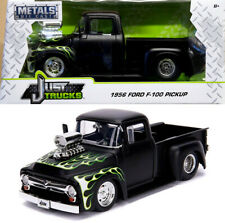 1956 Ford F-100 Pickup Truck Primer Black + Flames 1:24 Jada Toys 30716