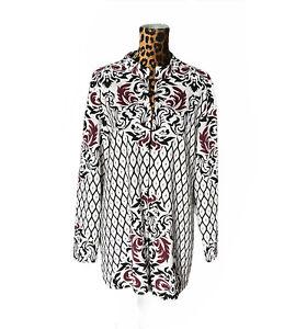 Peck& Peck Cardigan Open Sweater Long Ivory Black Wine Print Duster Stretch XL