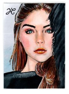 Original 1/1 ACEO Sketch Card Portrait Face Of A Young Girl