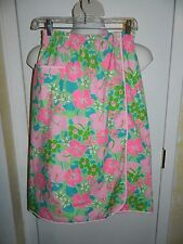 Vintage 1960s Lilly Pulitzer The Lilly Bright Pink Green Floral Skirt Size 10