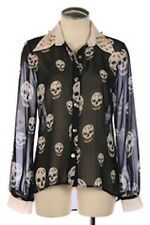 blk/white pin up skulls button down long sleeve gothic punk chiffon blouse S