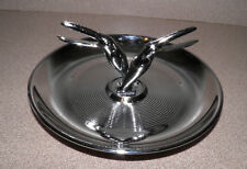 Art Deco Chrome Ash trinket tray w Two Art Deco Toucan Bird Holders Center Clean