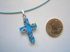 Collar acero memoria azul con cruz de cristal milflores turquesa corto 44 cm r-3
