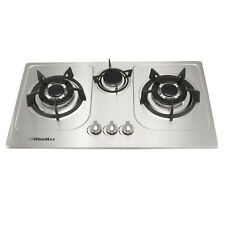 Silver 72cm Stainless Steel Cooktops Built-in 3 Burner Gas Hob NG/LPG COOKTOPS