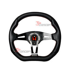 350mm JDM Racing Steering Wheel Black PVC Red Stitch w/Red H Emblem