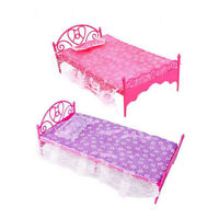 CUTE BARBIE SINDY DOLL SIZED FURNITURE BED IN 2 COLOURS PINK OR PURPLE UK SELLER