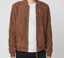 ALL SAINTS KEMBLE SUEDE LEATHER BOMBER JACKET COAT - SMALL - OXBLOOD RED - NEW