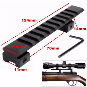 124mm Adapter 11mm to 20mm Prismenschiene Weaver Picatinny Zielfernrohr Montage