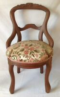 Antique Victorian Carved Balloon Back Chair Walnut w Chenille Upholstered Seat