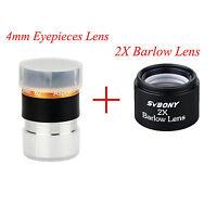 SVBONY 1.25'' 31.7mm Wide 62-Deg Eyepiece Lens 4mm+2x Barlow Lens For Telescopes