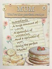 Mum You're The Perfect Recipe - Tin Metal Wall Sign