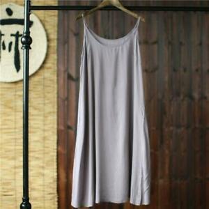 Full Slip Strappy Cotton Under Vest Sleepwear Petticoat Chemise Nightie Dress sz