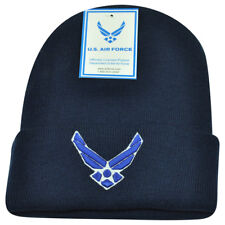 United States Air Force US Military Cuffed Logo Navy Blue Beanie Knit Toque Hat